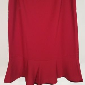 NWT deep red fit & flare trumpet skirt size 6